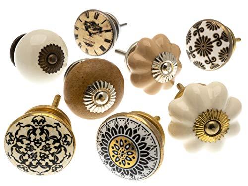 Mélange Lot de Shabby Chic Style Vintage poignées pour placards céramiques x Pk 8 (MG-133) - 'Vintage-Chic' TM Produit