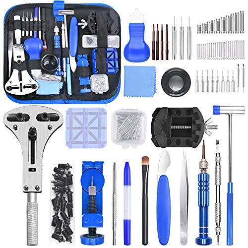 STARTOGOO Uhr Reparatur Werkzeug, 185tlg Uhrenwerkzeug Set mit Stiftausdrücker Schraubendreher Werkzeug Tasche