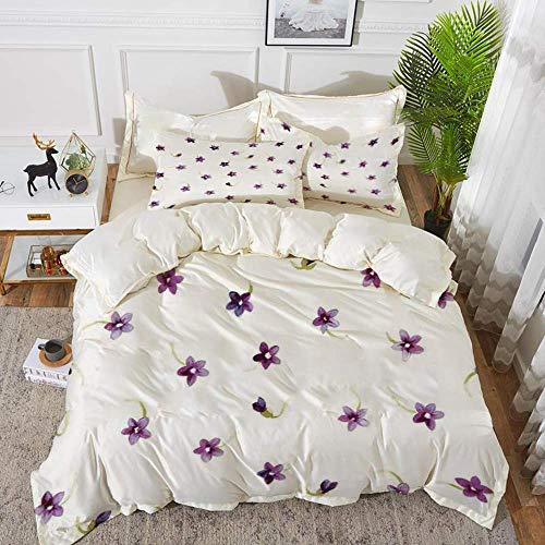 beddengoed - Dekbedovertrek, aquarelbloem, kleine zachte bloemetjes op heldere achtergrond, moeder aarde, hypoallergeen microvezel dekbedovertrek met 2 kussenslopen van 50 x 75 cm