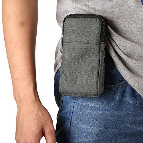 Bolsa de Cintura Hombre Pequeñas, Bolso Cruzado Hombre para Teléfono Celular, 6.0' Riñonera Funda Móvil con Vertical Clip Cinturón Cartera Bolsa de Mensajero Bolso Bandolera para Deportes Camping