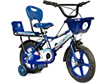 Norman Jr, 99 Collection Double Seat Bicycle 14 Inch Fully Adjustable with Back Seat & Support for Boys and Girls 2 to 5 Years - Shine Blue