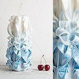 Vela Tallada de Boda para Novio – Centro de Mesa Decorativo – Blanco y Azul - EveCandles