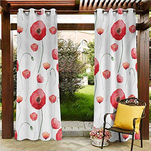 ScottDecor Flower Home Fashions Curtain Outdoor Panel Drape for Pergola, Porch, Deck and Cabana Blossom Poppy Springtime Backyard Classical Design Curvy Stylish Artwork Print Cocnut and Red