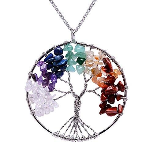 Lv.unique Collar Mujer árbol de la Vida Colgante Collar de Cobre Chakra Piedra Preciosa Collar de Amatista Colgante Collar de Cadena Larga Ajustable y para niñas (White + Color Stone)