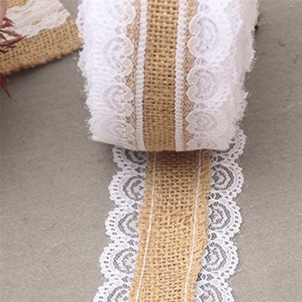 10 Yards Natural Jute Burlap Hessian Lace Ribbon Roll + White Lace Vintage Wedding Decoration Party Decorations Crafts Decorative