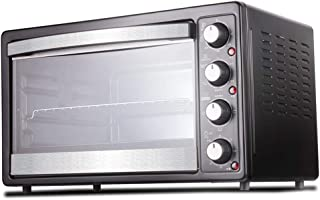Toaster Oven QYJH - Horno de 35 litros con Todas Las Funciones - Parrilla de Horquilla giratoria de 360 °, Utensilios para Hornear, Parrilla y asa - Negro