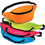 Bedwina Neon Fanny Pack Bulk - 12 Pack Adjustable Fanny Packs for Kids, Women and Men, 13 Inch Fanny Packs, Cute Fashionable Waist Bags