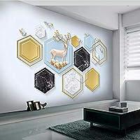 XSJ 壁紙カスタム3D壁画3Dモダンなミニマリストの幾何学的な大理石エルクフォーチュンツリー背景壁の装飾壁紙-250X175CM