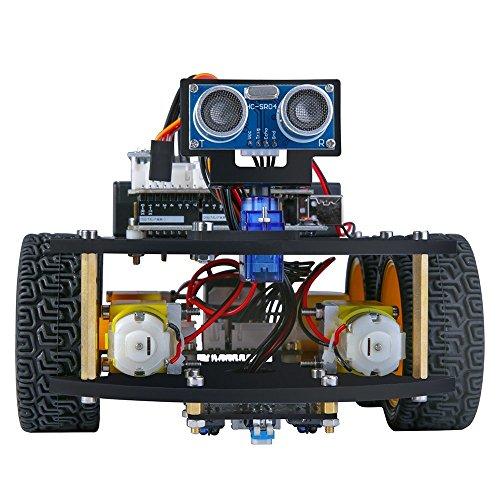 WXJHA High-Tech-Projekt Smart-Robot Car Kit V 3.0 mit UNO-R3, Linie Tracking-Ultraschall-Sensor, Bluetooth für Arduino Programm für Auto-Spielzeug-Geschenk für Kinder