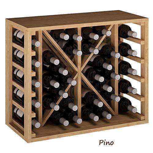 ZonaWine - Botellero Modular en Madera con división para 34 Botellas. Se Entrega montado 54x46x32 de Fondo. Garantía fabricación española - Pino Tintado en Roble