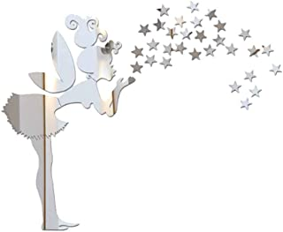 Gankmachine Dormitorio Hada Estrellas Espejo Etiqueta de la Pared de la Niña Estrellas Mirrord Adhesivos de Bricolaje acrí...