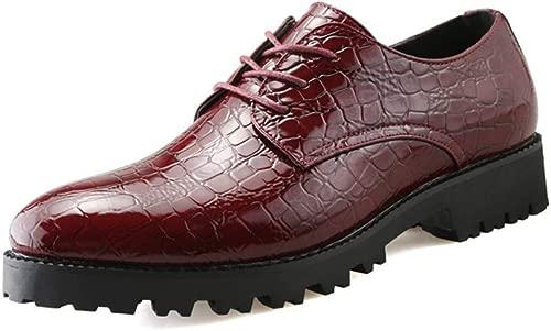 CHENDX Schuhe, Herrenmode Casual Spitz Top Business Oxford Krokodilstreifen Dicke Untere Formale Schuhe (Farbe   Rot, Größe   42 EU)
