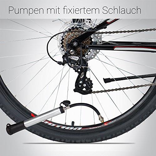 Bergsteiger Fahrradpumpe Minipumpe für Schrader Autoventil & Presta Sclaverand-Ventil, inkl. Flex-Schlauch, Ballpumpe, Original Fahrrad-Zubehör - 4