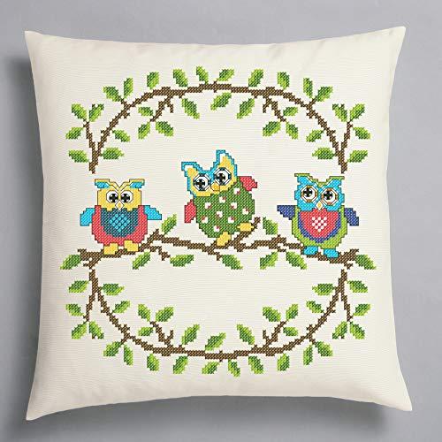 Kamaca Kit de punto de cruz con diseño de búhos divertidos, 100% algodón, funda de almohada de 40 x 40 cm, con plantilla de bordado (cojín de 40 x 40 cm)