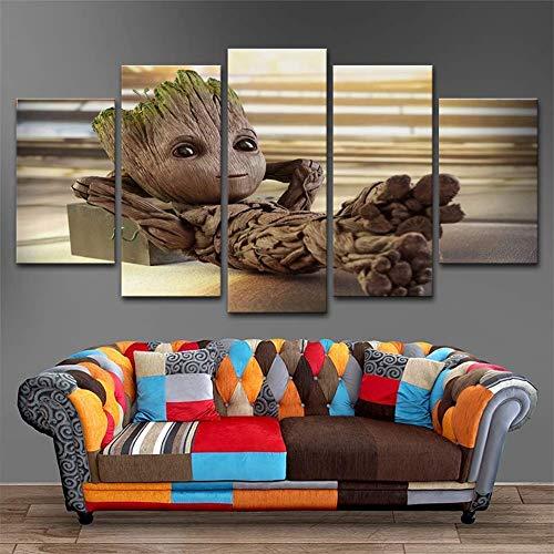 DSNICK-CP Moderne Wohnkultur für Wohnzimmer Poster 5 Panel Baby Groot Bilder Wandkunst Gemälde Leinwand Gedruckt,A,20x35cmx2;20x45cmx2;20x55cmx1