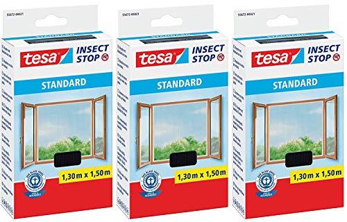Tesa Insect Stop Standaard vliegengaas voor ramen, insectenbescherming op maat te snijden, muggenbescherming zonder boren 3er Pack / 1,30m x 1,50m antraciet