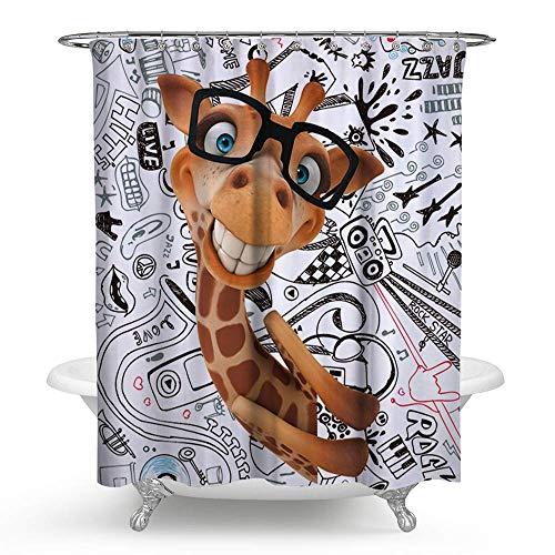 KISY Wasserdichter, schimmelresistenter Duschvorhang mit Cartoon-Graffiti-3D-Giraffen-Hirsch-Motiv, Polyester (180 x 180 cm)