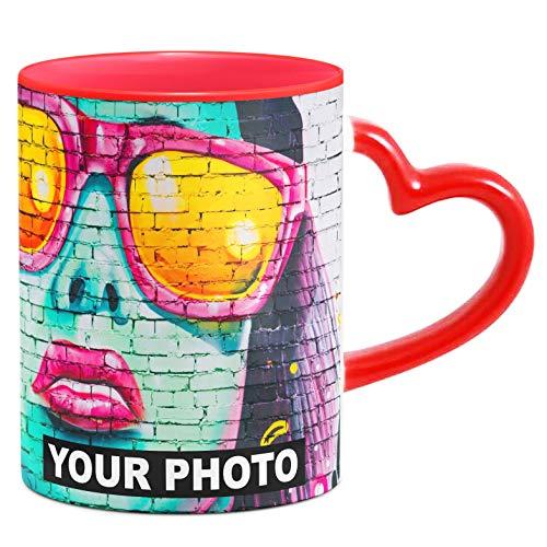 Fototasse Tasse mit Herzhenkel mit eigenem Foto & Text Tassendruck personalisiert Geschenk Weiße Tasse Herzform Henkel Rot [117]