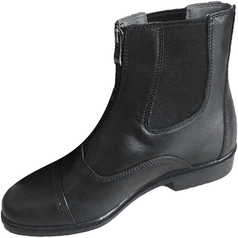 Sharplace 1 Pair Horse Riding Boots Jodhpur Paddock Short Boots Zip-up Waterproof Black