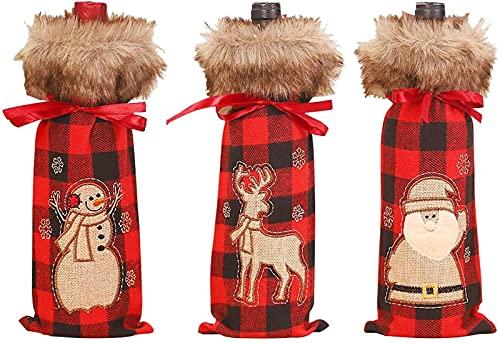 LIUTIAN Sacchetto di stoffa di bottiglia di vino di Natale, Babbo Natale, renna, pupazzo di neve, tre stili, un set di 3 sacchetti di stoffa for bottiglia di vino di Natale riutilizzabili, con couliss