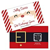 Big Dot of Happiness Jolly Santa Claus - Christmas Party White Elephant Gift Exchange Game Scratch Off Cards - 22 Count