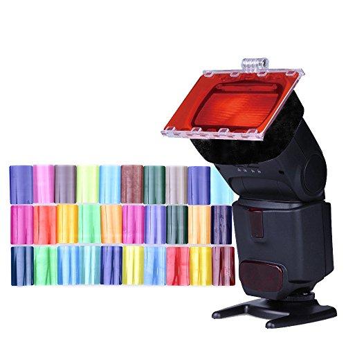 Fomito Flash Speedlight Farb-Gel-Filter, 30 PS mit Gel-Band & Reflektor für Canon Nikon Olympus Pentax Yongnuo Neewer Godox Speedlite