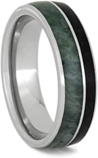 The Men's Jewelry Store (Unisex Jewelry) Jade, Obsidian 6.5mm Titanium Comfort-Fit Wedding Band