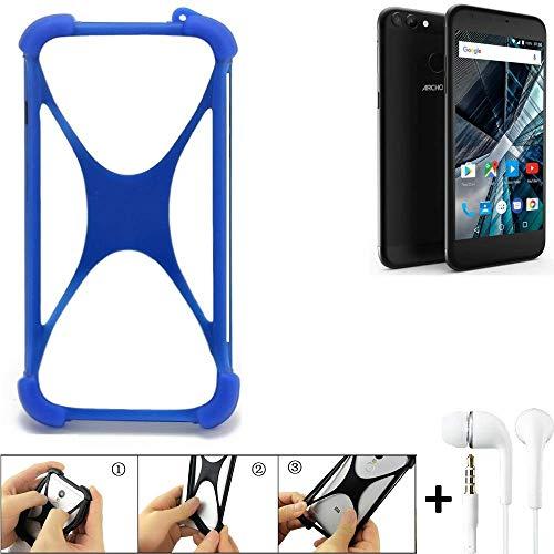 K-S-Trade® Bumper Für Archos 55 Graphite Schutzhülle Handyhülle Silikon Schutz Hülle Cover Case Silikoncase Silikonbumper TPU Softcase Smartphone, Blau (1x), Headphones