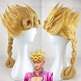 JoJo's Bizarre Adventure Giorno Giovanna Wig GIOGIO Golden Braided Heat Resistant Synthetic Hair Cosplay Wigs + Wig Cap