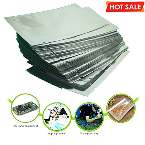 """(Pack of 100)Premium Smell Proof FDA Approved Food Safe Double-Sided Color Mylar Aluminum Foil Flat Heat Sealable Sample Ziplock Bag Vacuum Bag Sealer Food Storage,ALL SIZE (8x12cm(3.1""""x5""""))"""