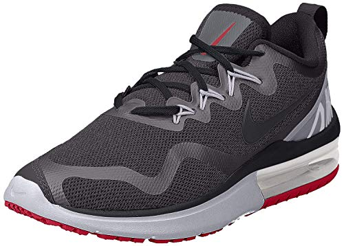 Nike Mens Air Max y Low Top Lace Up Running, Black/Black-Gym Red, Size 6.5