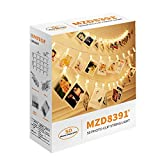 MZD8391 50 Photo Clips String Lights/Holder, Indoor Fairy String Lights for Hanging Photos...