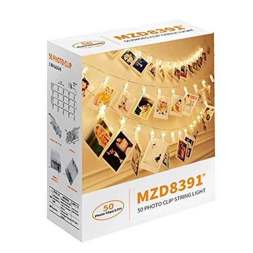 MZD8391 Dimmable 50 Photo Clips String Lights/Holder with Remote Control, Indoor Fairy String Lights for Hanging Photos Pictures Cards Memos, Gift Photo Clip Holder (Warm White)