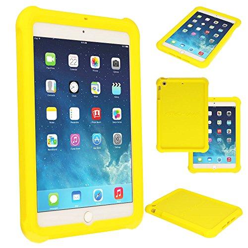 TECHGEAR Schutzhülle für iPad Mini 1 2 3, [Kinderfreundlich] Leichtes Koffer Silikon Soft Shell Anti-Rutsch-Shockproof verstärkte Ecken + Displayschutzfolie. hülle für iPad Mini 3 2 1 - Gelb