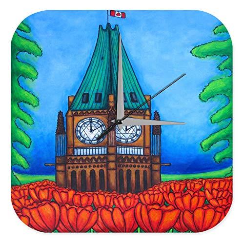 Wanduhr mit geräuschlosem Uhrwerk Dekouhr Küchenuhr Baduhr Welt Reise Kirchturm Tulpen Wand Deko Uhr 25x25 cm