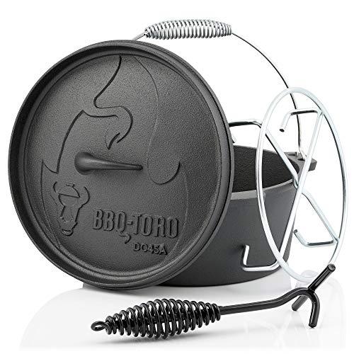 BBQ-Toro Dutch Oven Alpha Serie I al ingebrand - preseasoned I Verschillende maten I gietijzeren kookpan I braadpan met deksellifter DO45A - 3,1 Liter pot zonder pootjes
