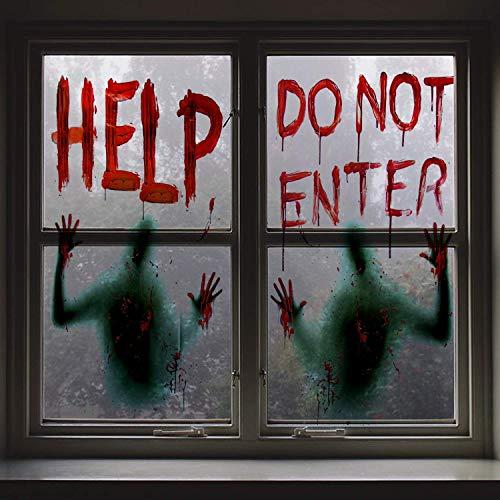 Halloween sangrienta ventana sangrienta carteles Decoración del partido para las casas encantadas, fiesta de Halloween ventana se aferra