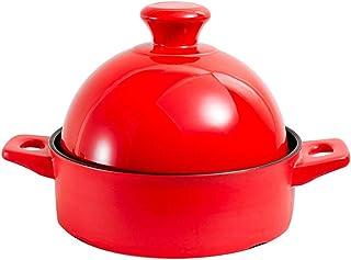Olla de Tagine marroquí de cerámica con Tapa, Cocina de Barro Hecha a Mano Original, estofado Olla de Barro Saludable Salsa de Barro para estofar Rojo 1.37Quart