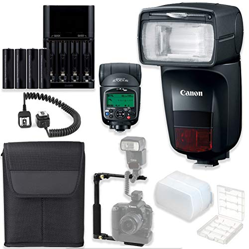 Canon Speedlite 470EX-AI High Speed Camera Flash with Auto Intelligent Bounce Technology + Speedlite Case + L Flash Bracket + TTL Cord + 4 AA Batteries & Charger + Flash Diffusers