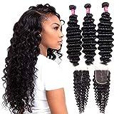 Odir Brazilian Deep Wave Human Hair 3 Bundles with Closure (14' 16' 18' + 12') 100G/Bundle 9A Unprocessed Brazilian Human Hair Deep Curly Hair Weave Bundles with Lace Closure Natural Color