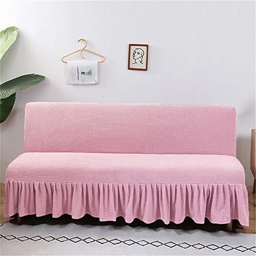 Sofabezug Ohne Armlehnen 3 Sitzer, Couch Bezug Elastischer Anti Rutsch Faltenrock Husse, Bettcouch Schonbezug, Klappsofa Bezug (Rosa,XL(180-200cm))