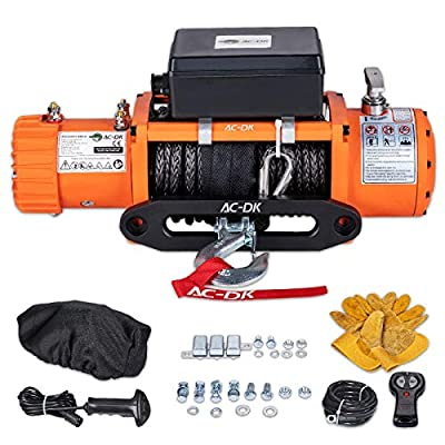 AC-DK 9500 lb. Electric Winch Synthetic Rope Kit, 12V Winch Waterproof IP67, with 2 Wirless Remote, for Truck SUV/4WD/OFFROAD (Orange 9500 Synthetic Rope Style)