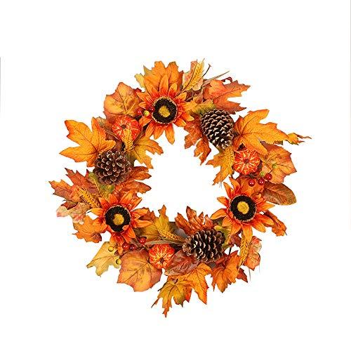 NQXXN Kunstmatige Zonnebloemkrans, pompoen esdoornblad Thanksgiving Halloween Krans, herfstkrans voor voordeur/muur/Festival/Home Decor (18 inch)