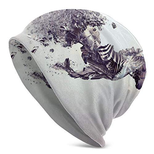 Knit Beanie Hat Zebra Pattern Skull Cap Camper Otoño Invierno Cálido Beanie Hat para Hombres Negro