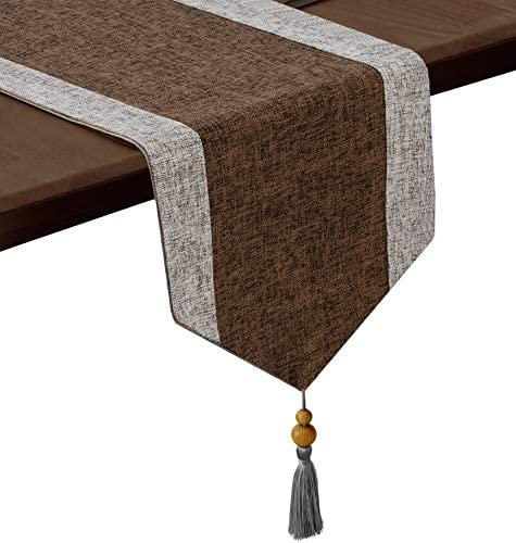 joybest Table Runner 13 x 72inch Striped Rustic Table Runners with Tassels for Family Dinner product image