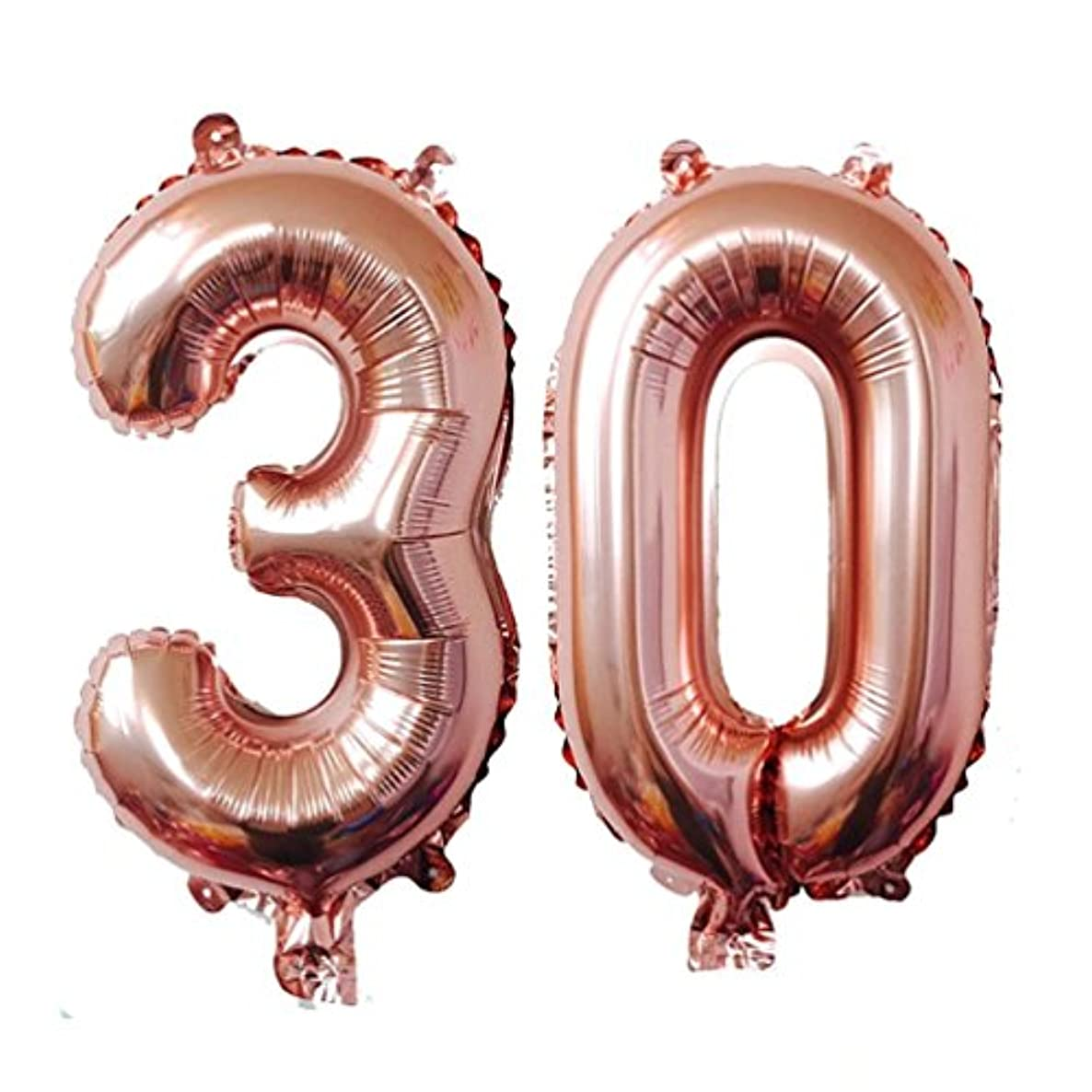 KEYYOOMY 40 inch Number 30 Mylar Balloons Rose Gold Dirty 30 Jumbo Foil Number Balloon for Thirty Birthday Party Anniversary Celebrate Parties Decoration (40 inch, Rose Gold Color)