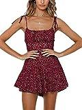 Jeanewpole1 Womens Summer Spaghetti Strap Jumpsuit Casual Flower Printed Beach Short Romper Wine Red