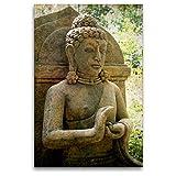 CALVENDO Premium Textil-Leinwand 80 cm x 120 cm hoch, EIN Motiv aus dem Kalender Buddha Statuen/CH-Version | Wandbild, Bild auf Keilrahmen, Fertigbild auf echter Leinwand, Leinwanddruck Glaube Glaube