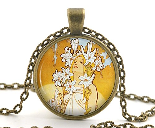 Mucha Lily Pendant Necklace, Vintage Bronze Art Nouveau Picture Jewellery Gift for Her