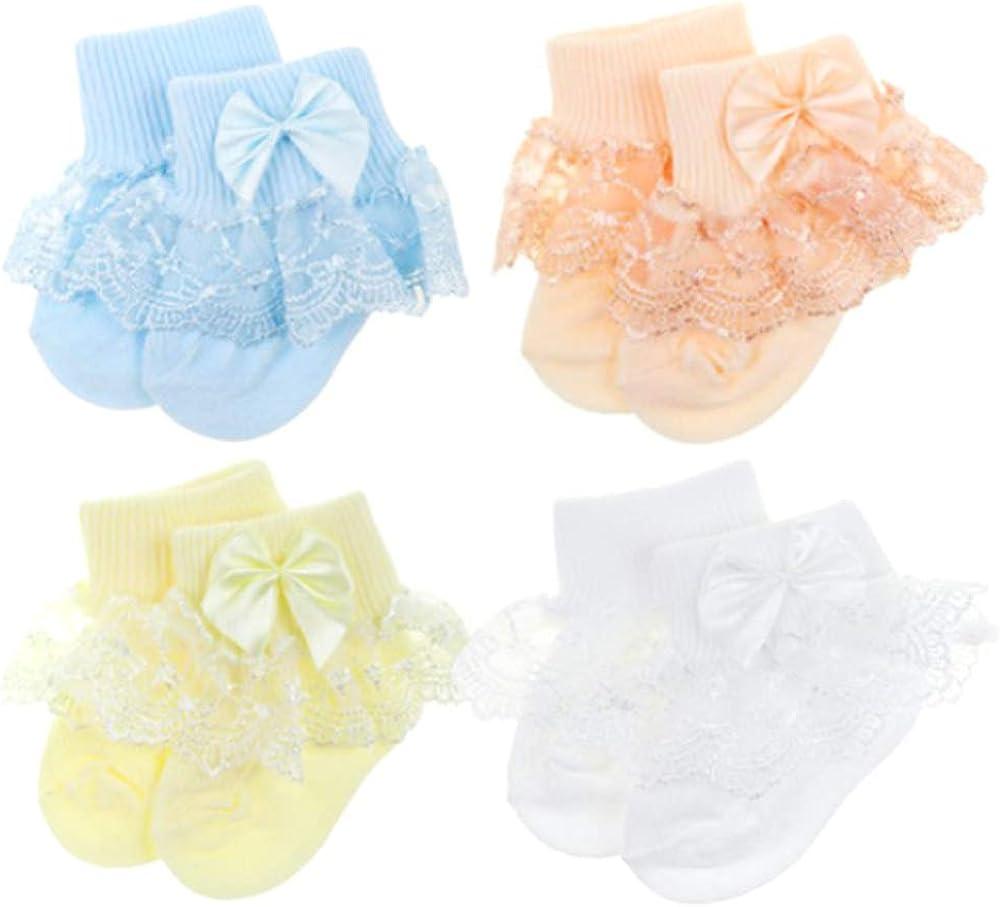4 Pairs Baby Girls Lace Socks Frilly Princess Ruffles Socks Dressy Socks for Newborn Toddler Girls 0-18 Months